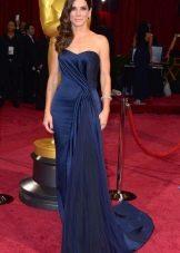 Открытое вечернее платье  синее