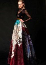 Цветное вечернее платье пышное
