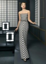 Полосатое вечернее платье