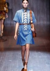 Джинсовое платье с коротким рукавом от гучи