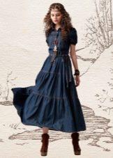 Джинсовое платье в стиле хиппи
