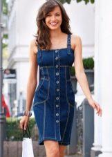Платье-футляр джинсовое короткое
