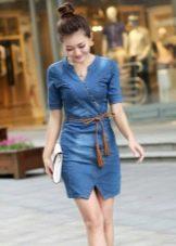 Китайское прямое джинсовое платье