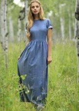 Прямое платье в пол длинное из джинсовой ткани