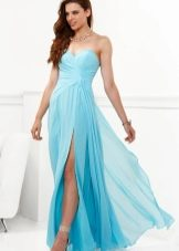 Голубое градиентное платье