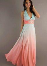 Коралловое длинное платье