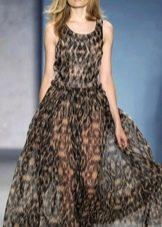 Длинное шифоновое прозрачное платье с леопардовым принтом