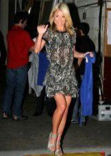 Серое платье с леопардовым принтом