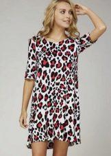 Платье с красно-серым леопардовым принотом