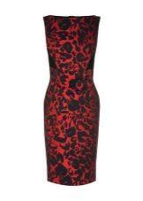 Красное платье с леопардовым принтом