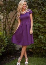 Платье цвета баклажан длины миди