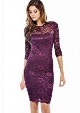Баклажановое платье средней длины