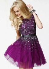 Короткое платье с пайетками цвета баклажан