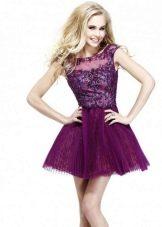 Короткое вечернее платье баклажанового цвета у для молодых девушек