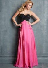 Платье цвета фуксии с черным топом