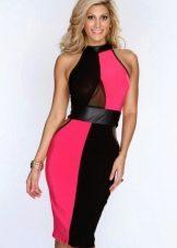 Платье цвета фуксии в сочетание с черным