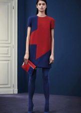 Платье цвета марсала с синими вставками