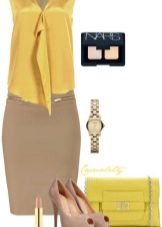 Горчичное платье со светло-коричневыми аксессуарами