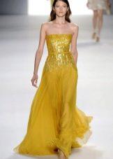 Красивое горчичное платье