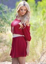 Платье-туника малинового цвета