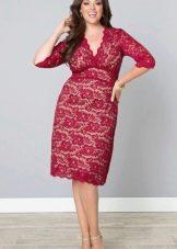 Малиновое платье для полной девушки