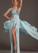 Голубое платье из шифона в пол с разрезами