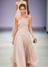Платье из шифона с драпировкой