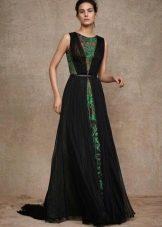 Кружевное платье с черным шифоном