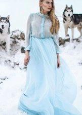 Платье-рубашка голубое