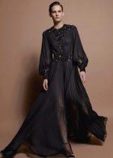 Черное прозрачное платье из шифона