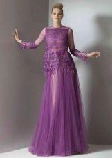 Фиолетовое прозрачное платье из шифона