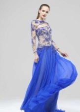 Платье голубое с кружевным верхом