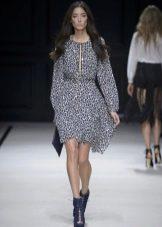 Короткое серое платье из шифона