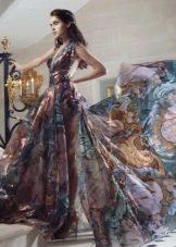 Платье из шифона в пол с принтом