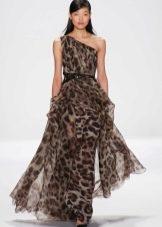 Платье из шифона с леопардовым принтом