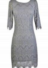Кружевное платье жемчужно-серого цвета