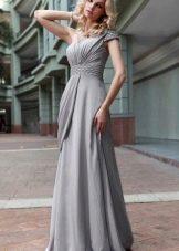 Серебристое серое платье