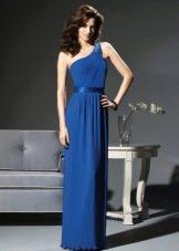 Синее греческое платье на одно плечо