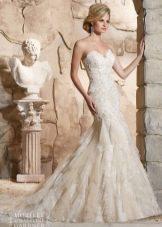 Свадебное платье от бренда Mori Lee на бретелях