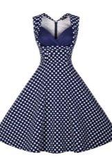 Красивое темно-синее платье в горошек