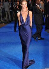 Длинное атласное темно-синее платье