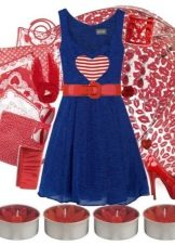 Темно-синее платье в сочетание с красным