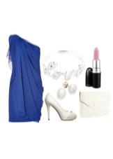 Светлые аксессуары к темно-синему платью