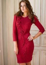 Бордовое платье вязаное