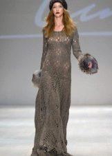Ажурное вязаное платье в пол
