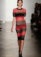 полосатое вязаное платье крючком
