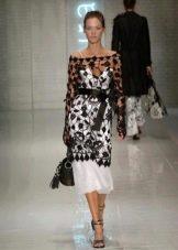 Вязаное платье ажурное черное