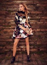 Цветное платье с длинным рукавом