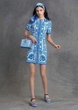 Короткое голубое цветное платье
