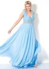 Голубое платье для полных, скрывающее живот
